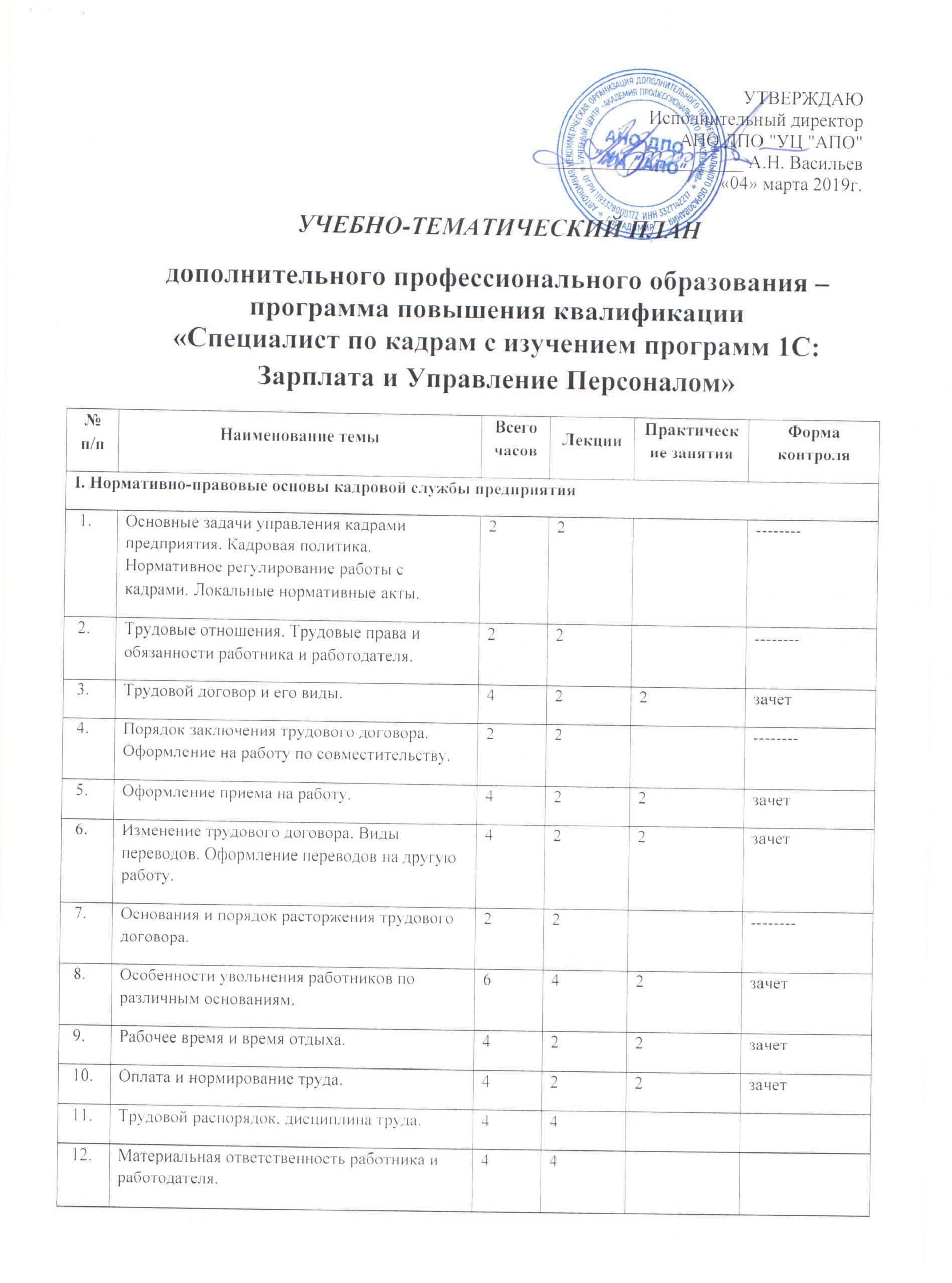 Специалист по кадрам с изучением программы «1С: Зарплата и Управление Персоналом 8»